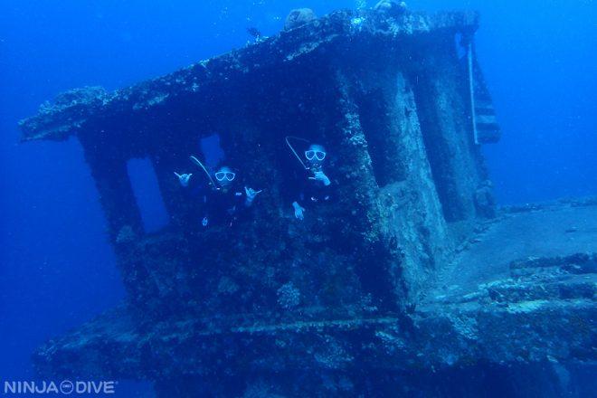 グアム中部 プライベート ファンダイビング ボートダイビング アメリカンタンカー 女子旅